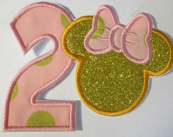 Girl Mouse with Number One - Iron On or Sew On Embroidered Applique  - Custom Made in 1-3 Business Days