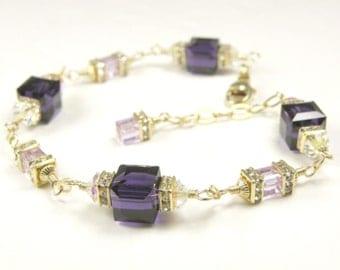 Dark Purple Crystal Bracelet, Violet Swarovski Cube, Eggplant Gold Filled, Bridesmaid Bracelet, Bridal Party Gift, Wedding Jewelry Handmade