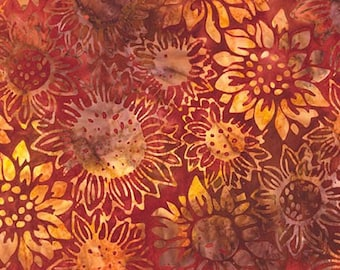 Rust Yellow Sunflowers Batik Fabric - Robert Kaufman - 15571-191 - Cornucopia 7