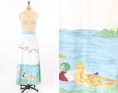 70s Skirt Maxi Small  / 1970s Cotton Skirt Cotton Duck Print /  Hand Painted Summer Pond Skirt