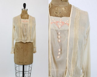 20s Blouse Silk Small / 20s Vintage Embroided Blouse Chiffon / Rose Gentry Blouse