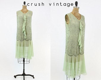 20s Beaded Dress XS  / 1920s Vintage Silk Dress Sequins / Verona Mint  Dress