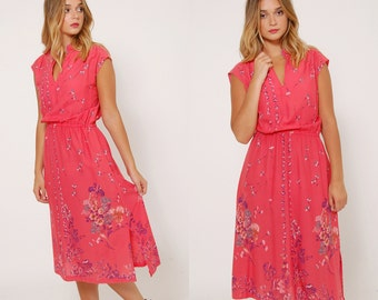 Vintage 70s Pink FLORAL Dress Sleeveless Day Dress PRINTED Midi Dress