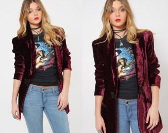 Vintage 80s VELVET Blazer BURGUNDY Jacket Structured OVERSIZED Blazer Glam Rocker Jacket