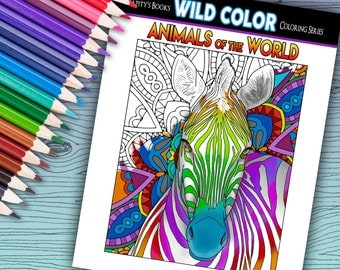 Animals of the Word - Adult Coloring Book 30 pages - Printable Instant Download PDF