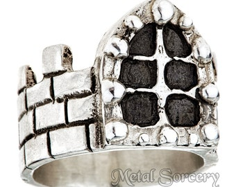 Medieval Castle Ring in Sterling Silver