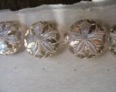 Vintage Gold lustre Glass Buttons Set 4 Swirl pattern Clear Glass buttons with gold lustre luster