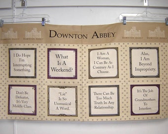 Fabric Andover Downton Abbey Dowager Countess Violet's Quotes and quips PANEL
