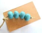 Turquoise Glazed 12mm Round Kiln Fired Beads, Set of 4