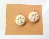 Kiln Fired Clay Stoneware Tumbleweed Glaze Small Face Pair Charm Findings