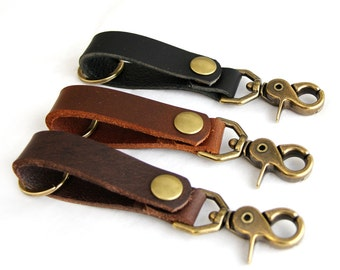 Leather Key Chain with Antique Brass Swivel Hook and Snap