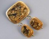 Antique Edwardian 14k gold brown agate hardstone demi parure brooch pin and pierced locking kidney wire earrings