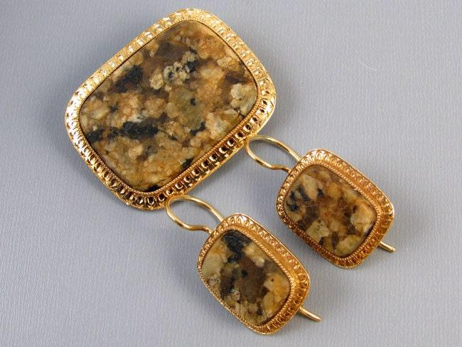 Antique Edwardian 14k gold brown agate hardstone demi parure set brooch pin and pierced locking kidney wire earrings