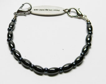 Free Shipping - Beaded Medical ID Replacement Bracelet HEMATITE OVALS Interchangeable Band