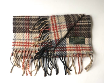 vintage Geoffrey Beene Plaid Woven Lambswool Scarf with Fringe / Made in Italy