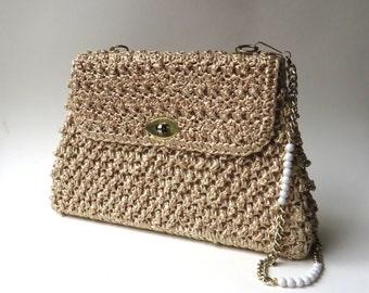 60s vintage  Gaymode Natural Woven Straw Handbag / made in Japan