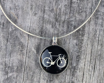 White Road bike on black - Beautiful handcrafted glass pendant with necklace