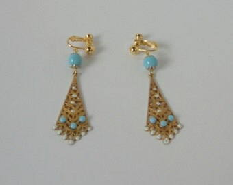 Hand Made Gold tone with White Enamel and Turquoise Glass beads Dangle Clip on Earrings.