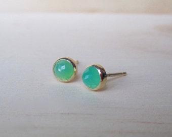 May birthstone apple green chrysoprase bezel set stud earrings in solid 14 karat gold