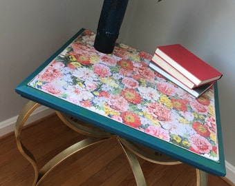 Floral and Gold Accent Table