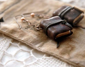 Literary Lobes - Miniature Leather Book-Earrings, Tea Stained Pages, OOAK