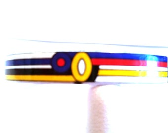 Red White Blue and Yellow Hand Made Porcelain Vintage Bangle Bracelet