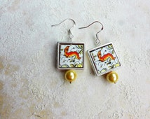 CoIMBRA Portugal 17th Century Pottery Replica 925 SILVER Framed Earrings with Whimsical DEER,  Waterproof and Reversible 737 SF