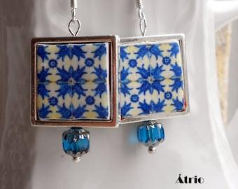 Portugal Antique Azulejo Tile Replica 925 Silver Framed  Earrings from PORTO (see actual Facade photos) 762 SF