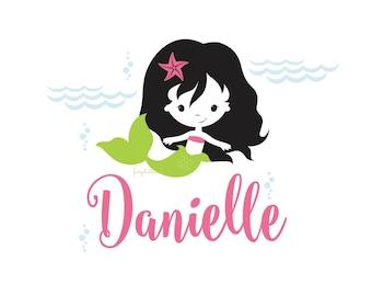 Mermaid Wall Decal - personalized name decal - baby nursery - mermaid girl bedroom wall decor - mermaid girl name vinyl decal - starfish