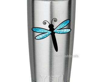 Dragonfly Wall Decal, glitter wings, new design, wall stickers for yeti cup, laptop decal, butterfly dragonfly vinyl decal, sparkle glitter