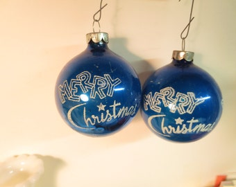 Vintage Shiny Brite set of 2 Blue glass ornaments Merry Christmas vintage images Stenciled