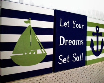 Nautical Canvas Paintings - Nursery Wall Decor - Anchor Sailboat Painting Navy Green - Baby Girl Boy Nursery Bedroom - Nursery Art Painting