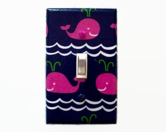 Whale Light Switch Cover - Pink Whales Switch Plate - Pink Navy Girls Nursery - Nautical Switch Plate - Girls Whale Bedroom - Whale Bathroom