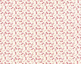 SUMMER SALE - 1 yard - Little Ruby -  Little Bows in Cream (55135-17) - Bonnie and Camille for Moda Fabrics