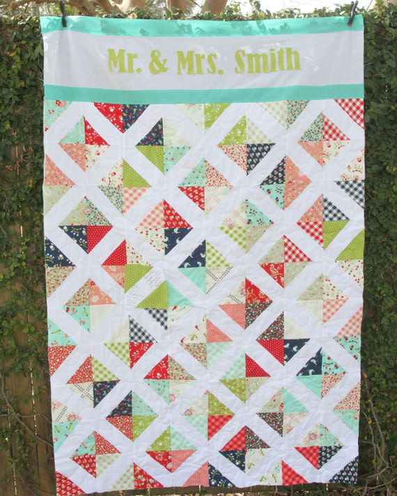 Quilt - Custom Name Quilt - Custom Wedding Quilt - Wedding Gift ...