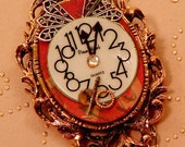 "STEAMPUNK BROOCH/NECKLACE ""Time"" Victorian Convertible Mix Metals Filigree Clock Face"