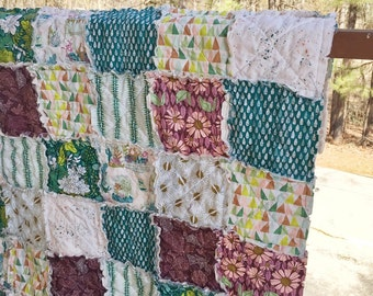 Rag Crib Quilt, Succulents, comfy cozy handmade baby bedding baby, Granny Chic, plum blue green, READY TO SHIP