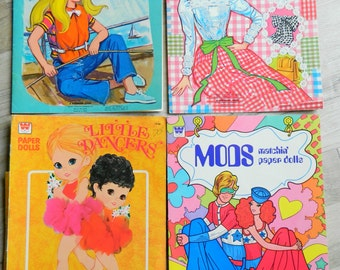 For Crafting purposes, 3 Assorted Vintage Whitman Paper Doll book Covers. Malibu Skipper, Little dancers, Mods, Barbie boutique, NO DOLLS