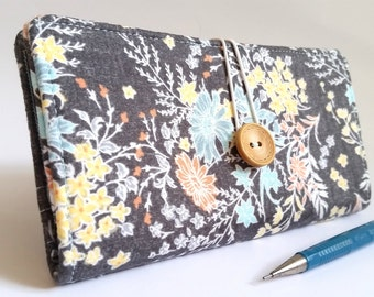 Fresh Floral CHECKBOOK COVER in Gunmetal Gray Pastel Blue Yellow Coral - Perennial