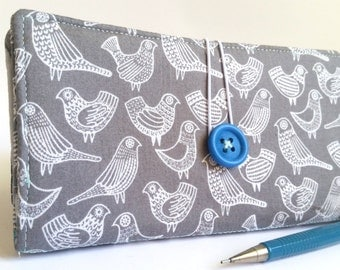 Gray CHECKBOOK COVER in Birds Print - Flock