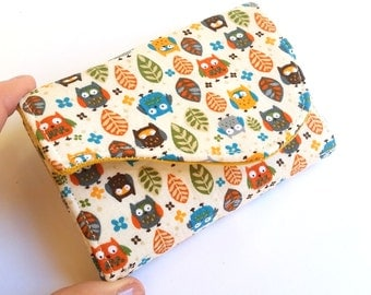 Cute Business Card Holder - Owls in Orange, Teal, Brown, Olive, Mustard - Autumn Owls