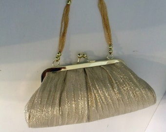 Lovely Gold Fabric Evening Bag