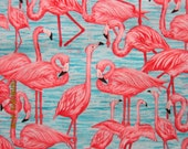 FLAMINGO FABRIC Debi Hron for Timeless Treasures Fabric - Rare - 1 Yard - #KR25