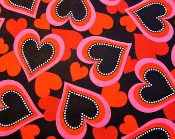 HEART FABRIC Vip Cranston Print Works -  Stylized Hearts on Black 1 Yard - #M29