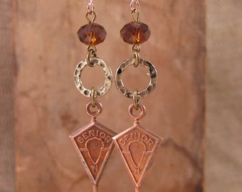 Upcycled Jewelry - Repurposed High School Senior 1971 Copper Colored Medals with Chocolate Swarovski Beadwork Dangle Earrings