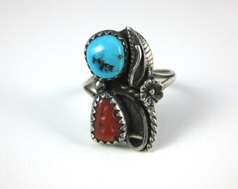 Ring, Size 5.25,  Sterling Silver, Two Stone, Turquoise, Red Coral, Southwestern Silver Ring