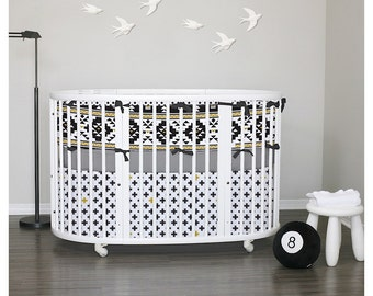 Aztec Baby bedding & Stokke Bedding - Nursery, Bumperless, fitted sheet, skirt - Choose your fabrics