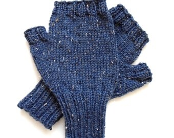 Blue Tweed Fingerless Gloves for Men, Teen Boys, Handknit Texting Gloves, Hand Warmers, winter gloves, Peruvian wool, men's mitts, size M/L