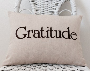 Gratitude Pillow Rustic Inspirational Pillow INSERT INCLUDED. Word Pillow Choose your  Fabric Color.