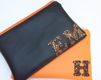Custom Made Personalised Makeup Clutch Purse Bag with Glitter Monogram Initials